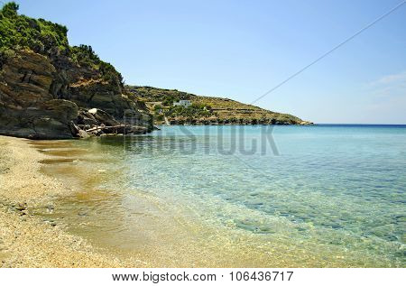 Batsi beach in Andros Greece