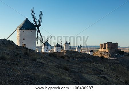 Windmills And Castle At Consuegra, La Mancha, Spain