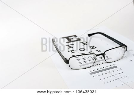 Eye glasses on eyesight test chart background close up