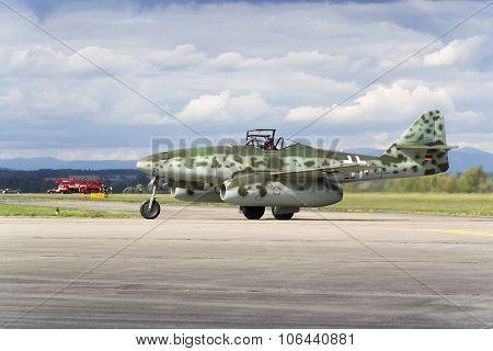 World's First Operational Jet-powered Fighter Aircraft Messerschmitt Me-262 Schwalbe Rolling On Runw