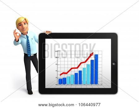 Young Service Man With Business Graph