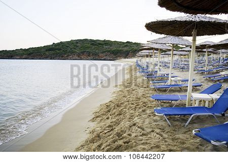 empty beach in Andros island Greece