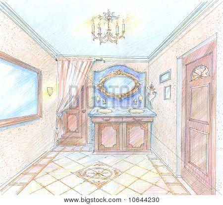 Hand drawn sketch of a washroom