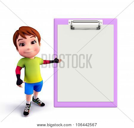 Cute Boy With Notepad