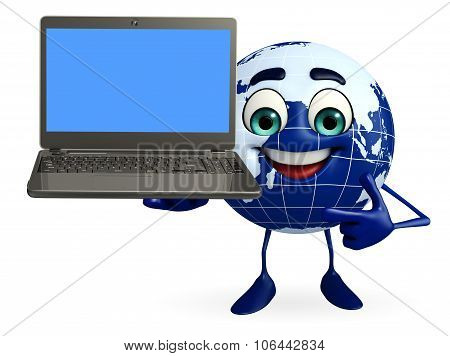 Globe Character With Laptop