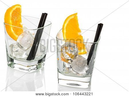 Empty Glasses Of Spritz Aperitif Aperol Cocktail With Orange Slices And Ice Cubes