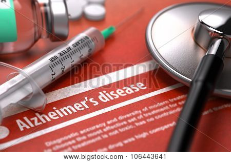 Diagnosis - Alzheimer's disease. Medical Concept.
