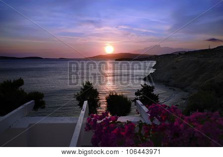 sunset in Andros island Greece
