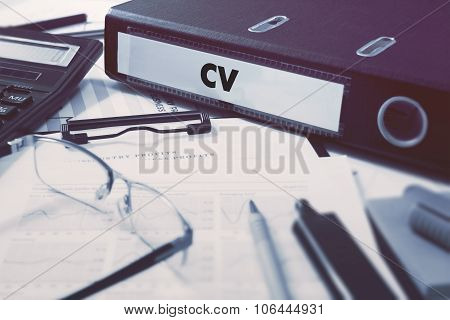 Office folder with inscription CV.