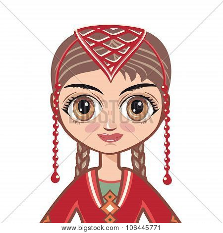doll in the Armenian suit. Portrait, avatar.