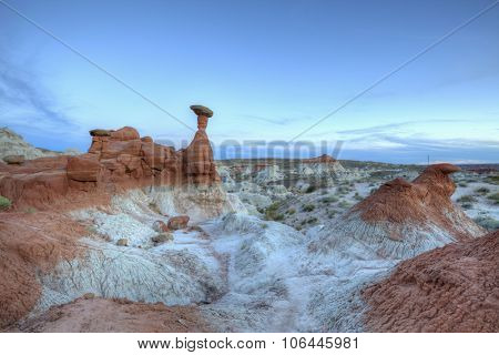 The Toadstools hoodoo rock formation after sunset in Southern Utah.