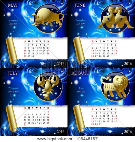 Zodiacal Calendar pages of 2016 for September, October, November, December with gold zodiacal sign against the blue star space background.