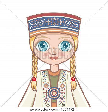 doll in the Latvian suit. Portrait, avatar