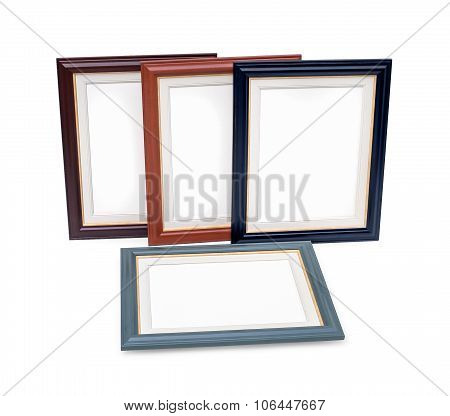 White Painter Canvases In Frame Isolated On White With Clipping Path