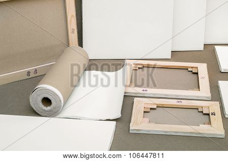 Empty White Painter Canvases And Canvas Roll - Painters Program