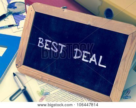 Best Deal Handwritten by White Chalk on a Blackboard.