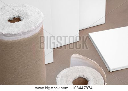 Empty White Painter Canvases And Canvas Roll - Painters Details Program