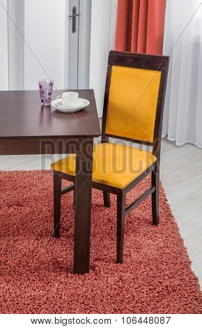 Simple Wooden Dinning Table And Chair In Interior - Studio Ambient Room