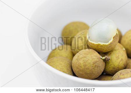 Fresh Longan Fruit In White Blow
