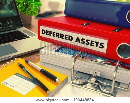 Red Office Folder with Inscription Deferred Assets.