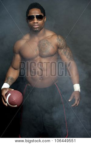 African American Male Wih Football