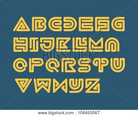 Snake Stripe Font Set. Bold