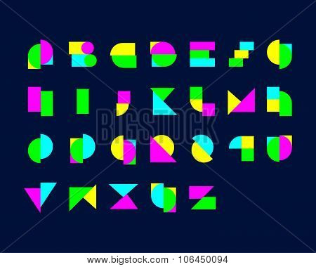 Digital Geometrical Font Set