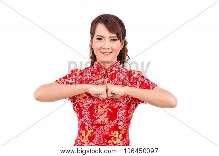 Asian Chinese Girl Greeting In Traditional Chinese, Chinese New Year