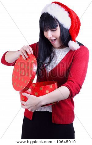 Christmas Girl With Gift On White