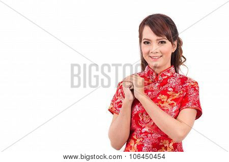 Asian Chinese Girl Greeting In Traditional Chinese, Welcome, Guest, Chinese New Year