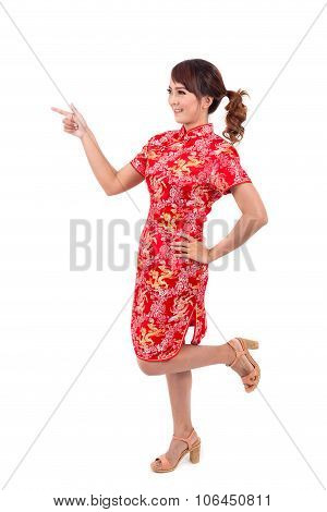 Asian Chinese Girl Greeting In Traditional Chinese , Chinese New Year, Enjoy, Happy