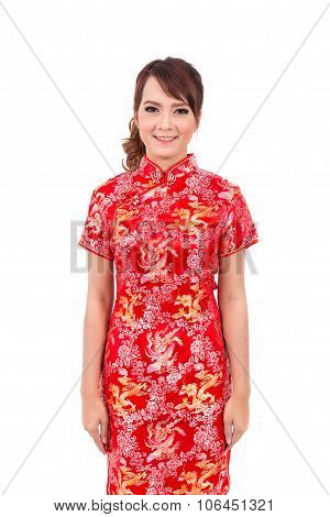 Asian Chinese Girl Greeting In Traditional Chinese , Chinese New Year, Enjoy, Happy,