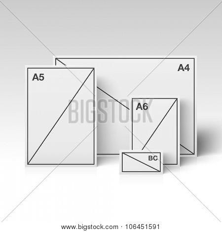 Papers of different sizes standing in the white room. Vector illustration.