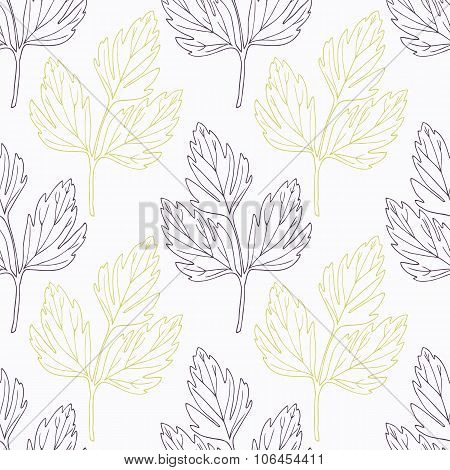 Hand drawn lovage branch wirh flowers stylized black and green seamless pattern