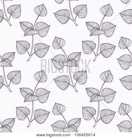 Hand drawn perilla herb branch outline seamless pattern
