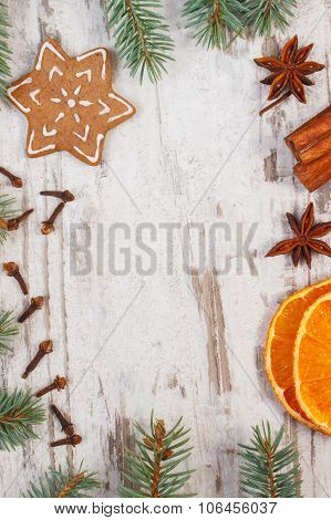 Decorated Gingerbread, Spruce Branches, Spices On Old Wooden Background, Christmas Decoration