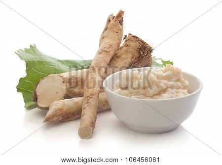 Horseradish's Root And Grated Horseradish