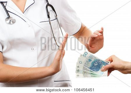 Woman Doctor Refusing Bribes Or Kickbacks, Concept Of Corruption