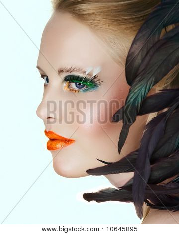 Beauty With Green Eyelashes