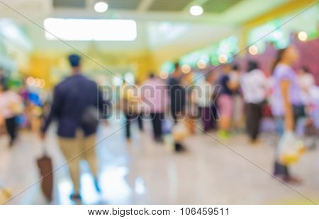 Blurred Image Of People At Shopping Mall