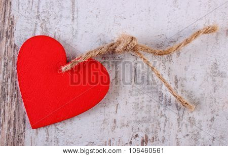 Valentine Red Heart With Twine On Old Wooden White Table, Symbol Of Love
