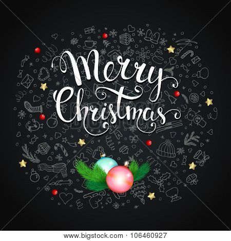 Christmas Background With  Snowflakes And Handwritten Text