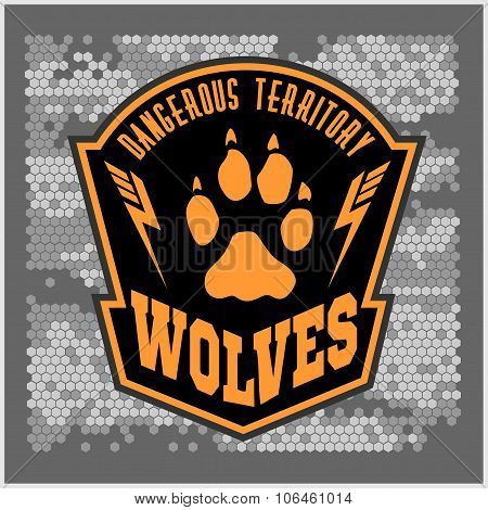 Wolves - military label, badges and design elements.