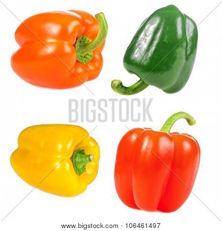 set of green, red, orange,yellow sweet pepper isolated on white background