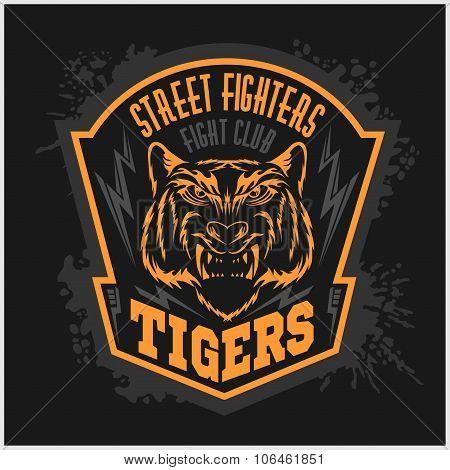 Street fighters - Fighting club emblem on dark background.