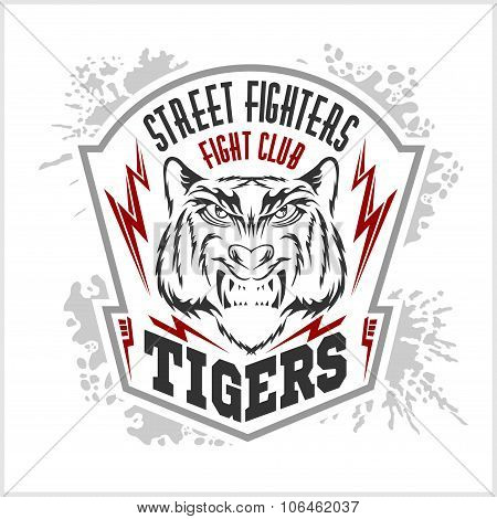 Street fighters - Fighting club emblem, label, badge, logo.