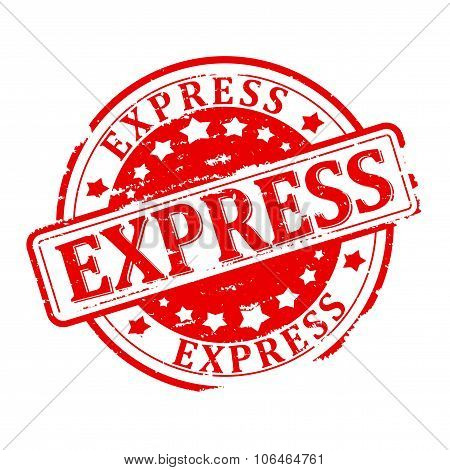 Damaged Round Red Stamp With The Words - Express - Illustration