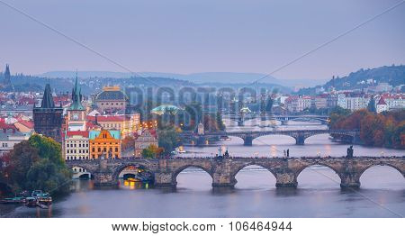 Evening over river Vltava near Charles bridge in Prague, Czech republic. Illustration