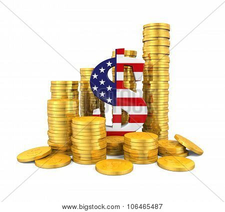 US Dollar Symbol and Gold Coins