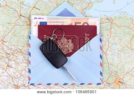 Airmail Envelope With Travel Passport Money